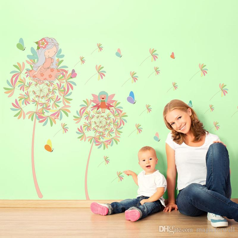 Dandelion Girl Wall Decal Stickers Two Fairy on the Dandelion Wall Art Mural Poster Home Decor Wallpaper Girls Room Wall Applique