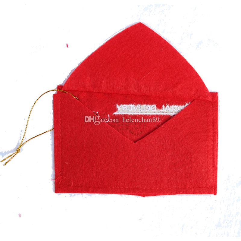 12*8cm Christams Gift Envelop Non-woven Christmas Tree Decorations Santa Claus Candy Bag Red Color Drop Shipping Fast Shipping