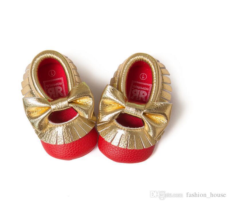 2016 Nuove 12 nappe colorate con mocassini bowknot bambini Scarpe con fondo morbido PU Neonato Primi camminatori