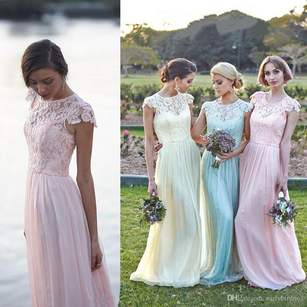 2016 레이스 쉬폰 다른 색상 들러리 드레스 모자 슬리브 A Line Long Beach 하녀의 명예 가운 저렴한 웨딩 파티 드레스 사용자 정의