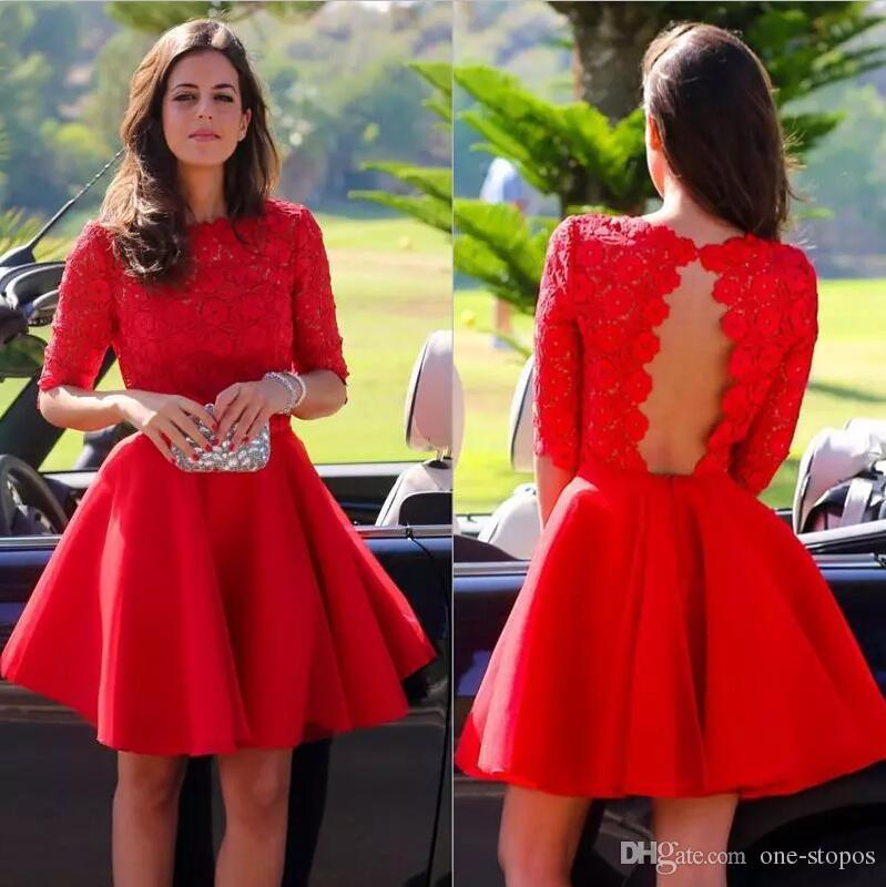 2018 elegante kurze rot homecoming kleider spitze juwel halbe ärmel formale mini abend promi kleid satin a line cocktail party dress
