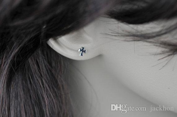 -S031 작은 평면 옆길 십자가 귀걸이 간단한 작은 기하학적 귀걸이 차가운 믿음 기독교 종교 십자가 귀걸이
