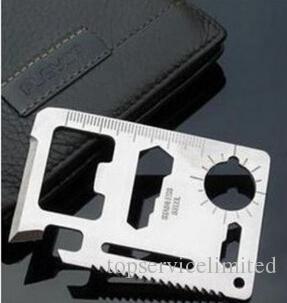 11 Em 1 Multi Ferramentas de Caça de Sobrevivência de Bolso Camping Faca de Cartão de Crédito de Aço Inoxidável Ao Ar Livre Engrenagem Ferramentas EDC