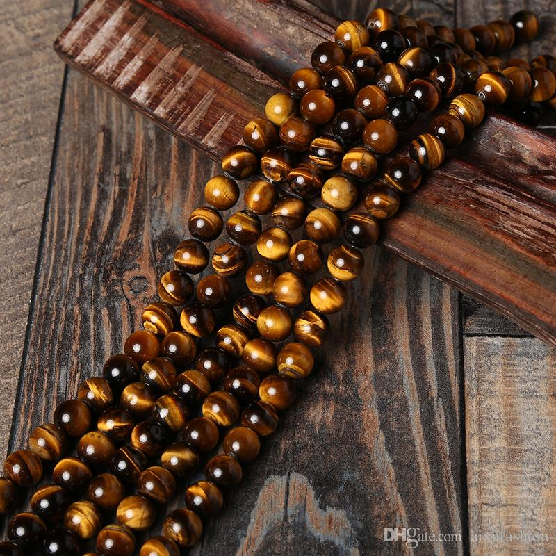 Granos de piedra natural AB + Yellow Tiger Eye Beads Grano flojo redondo para la pulsera Fabricación de joyas Tamaño de la selección: 4 6 8 10 12 14mm