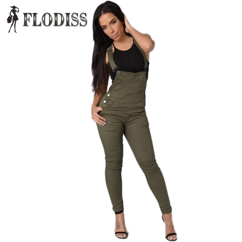 Wholesale- 2017 NEW Fashion Women Jeans Long Rompers Vintage European Style Army Green Strap Ripped Sleeveless Dual Pockets Denim Jumpsuits