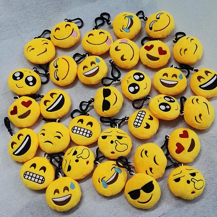 FREE SHIPPING BY DHL 100pcs/lot 6cm Emoji Keychains Soft Round Stuffed Plush Keyrings for Gifts