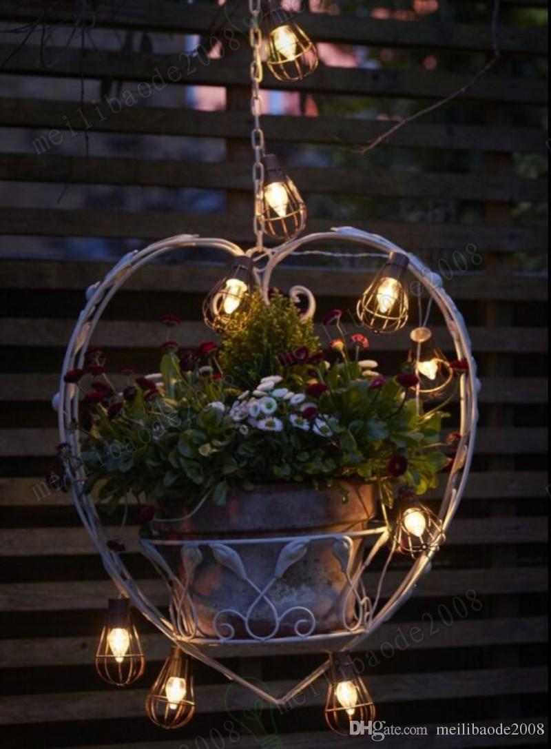 2017 NEW 10led Solar Garden Light LED Solar Bulb Vintage Cage String Light Waterproof Solar Lamp Outdoor Decorative Lights for Garden MYY