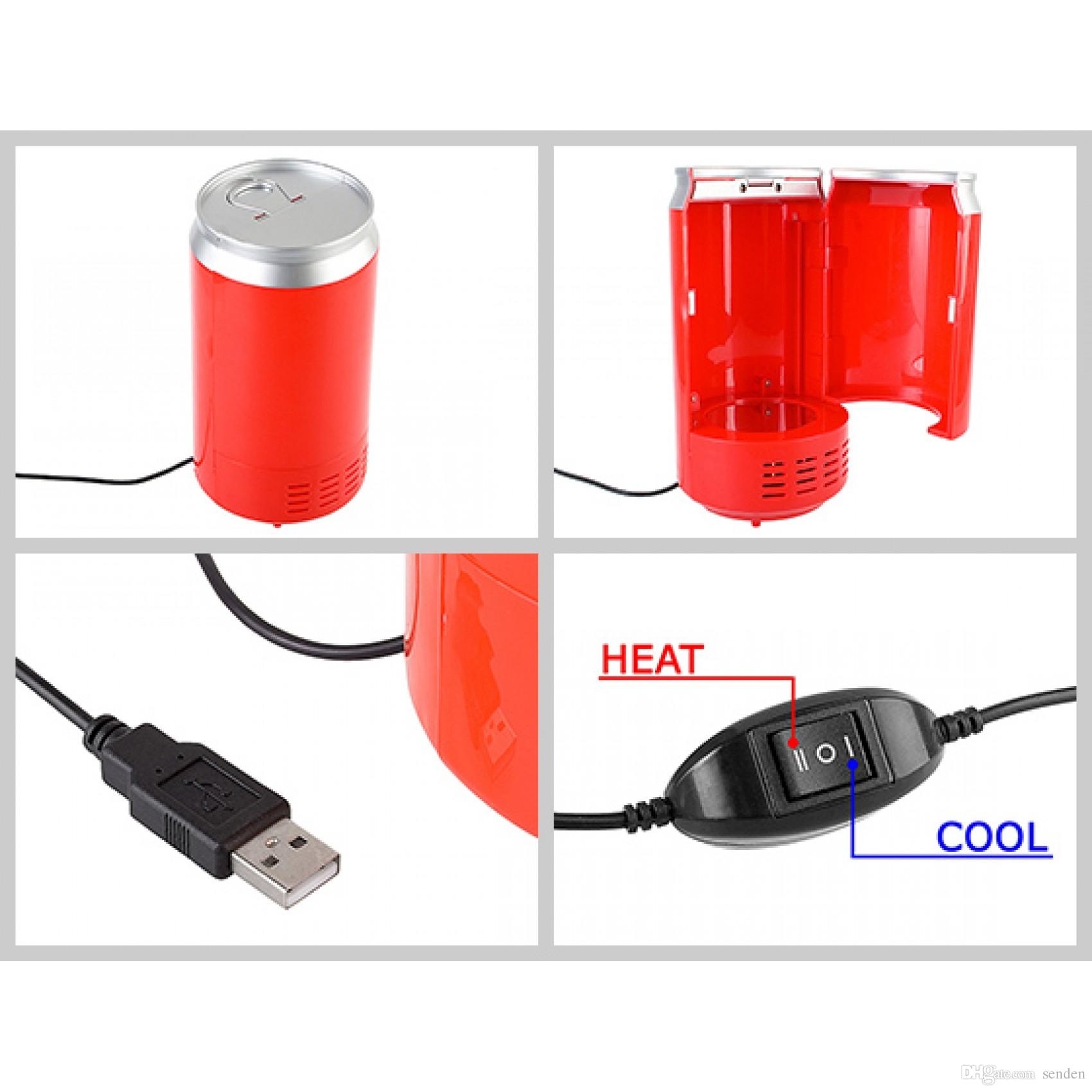 Portable USB Can Shaped Cooler and Warmer Mini Coke Fridge Beverage USB Thermoelectric chilling & milk warming Refrigerator home office Gift