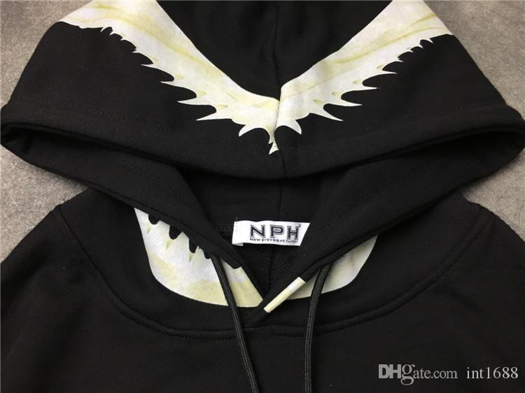 2017 الخريف الشتاء أعلى ماركة الساخن بيع العنق القرش الهيكل العظمي الأسنان الطباعة البلوز معطف هوديي الرجال طويلة الأكمام عارضة الرياضة البلوز