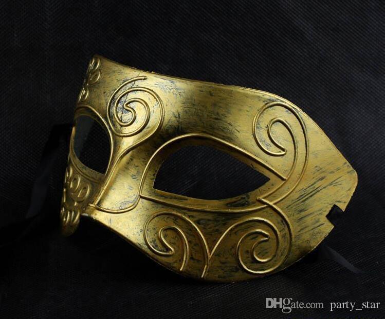 Men Retro Gold Silver Masquerade Masks Retro Roman Warriors Half Face Halloween Masks Halloween Graduation Party Celebrations Face Masks
