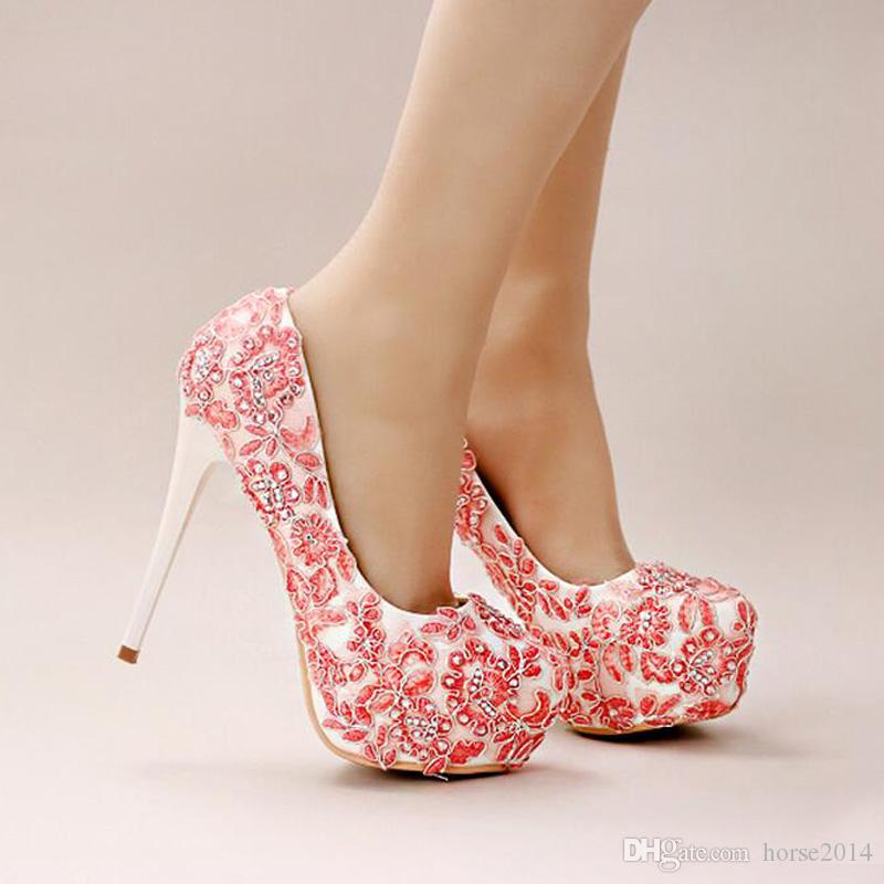 Handmade Lace Appliques Wedding shoes Pink Flower Bridal Dress Shoes Women Beautiful High Heel Shoes Platform Bridesmaid Shoes