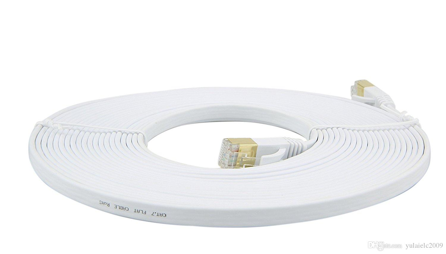 LONGYUE-10m 33ft cat.7 standard CAT7 RJ45 Patch flat Ethernet LAN Network Cable For Router Switch gold plated