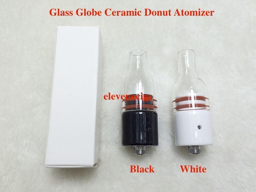 White and Black wax glass Globe ceramic donut atomizer with ceramic donut coil wax atomizer vape tank for Box Mod