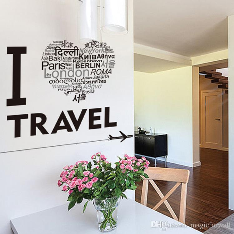 i love travel airplane wall stickers home decor wall art mural