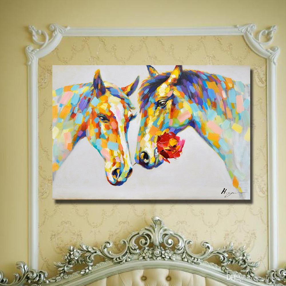 Top quality wall pictures no framed hand painted chinese horse oil painting cheap modern canvas art