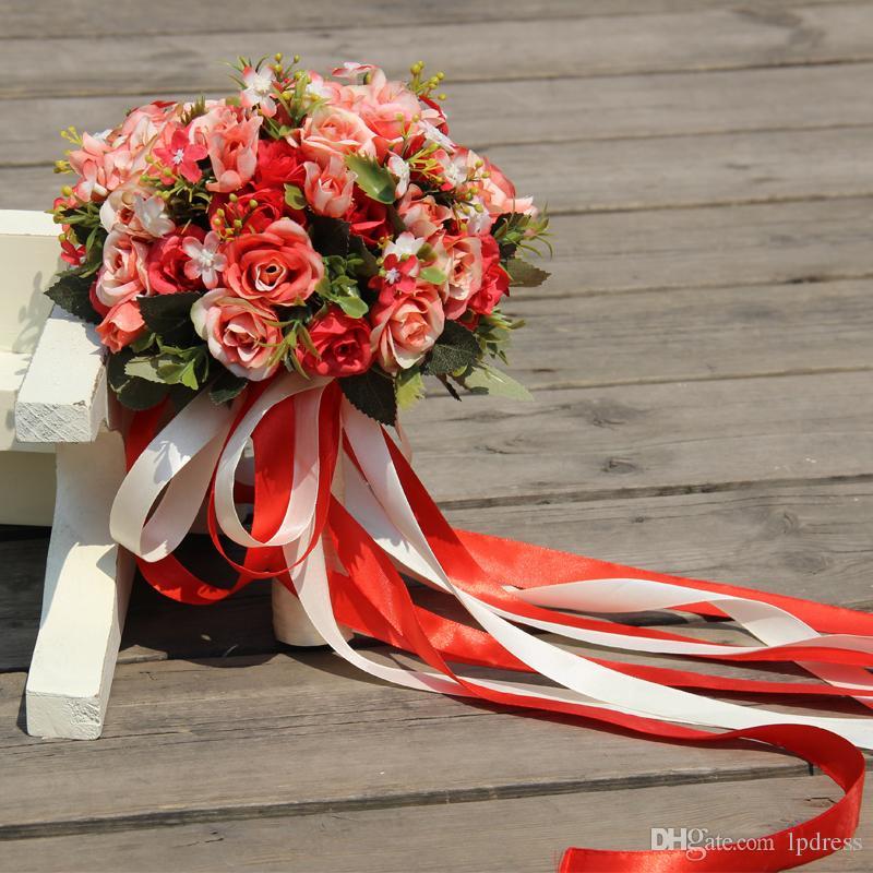 멋진 신부 부케 빨강, 분홍색, 녹색, 밝은 자주색 멋진 웨딩 꽃 꽃다발 고품질의 새로운 도착