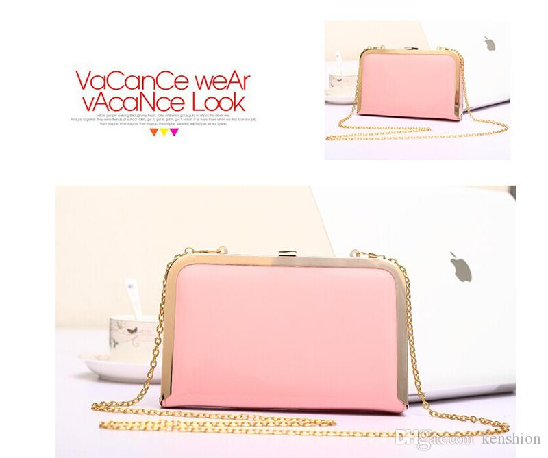 Summer Fashion Candy Color Patent Leather Clip Clutch PU Covered Evening Bag Multicolor Purse for Women - RC019