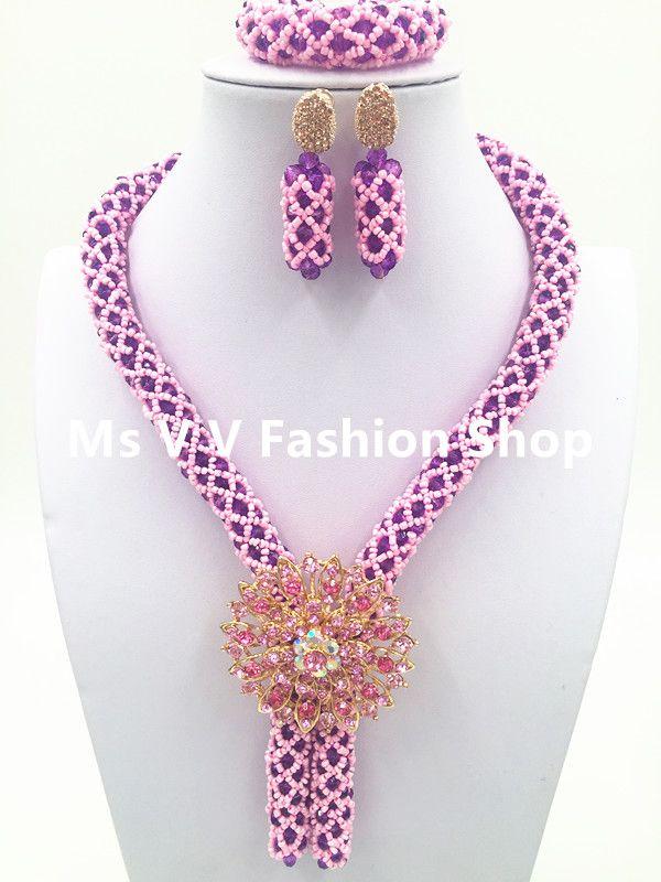 2019 luxury silver Yellow Wedding Necklace Set African Braid Crystal Beaded Jewelry Set Single Row Lady Jewelry Set
