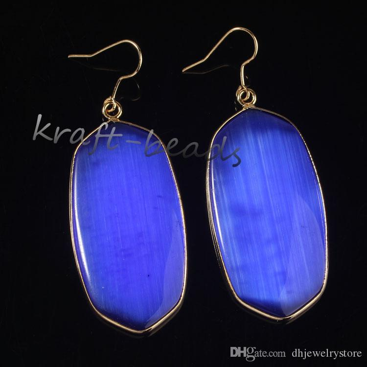 Wholesale Gorgeous 18k Gold Plated Quartz Stone Oval Hook Dangle Earrings For Women Fashion Jewelry