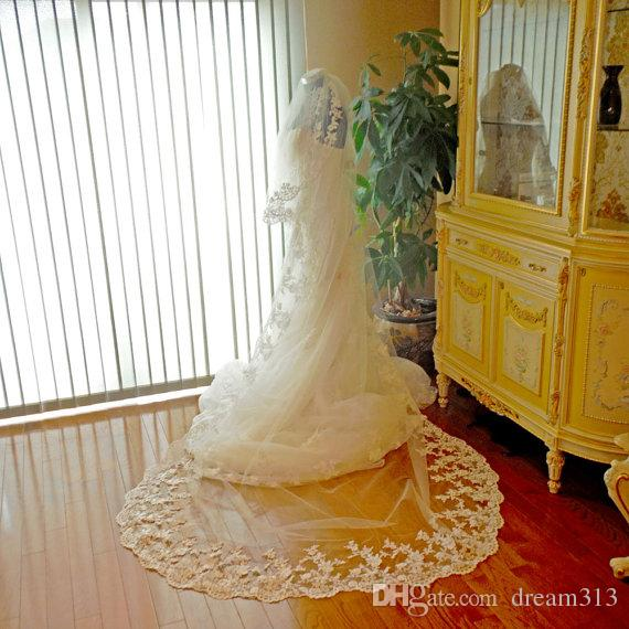 New Hight Quality Best Sale Romantic Cathedral short White Ivory Lace Applique veil With Comb Bridal Head Pieces For Wedding Dresses