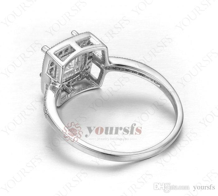 Yoursfs Rings 18 K White Gold Plated Square Cubic Zirconia Stone With Austria Crystal Wedding Rings for women Fashion Jewelry R463W1