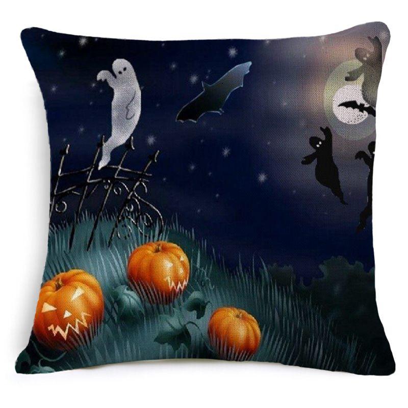Halloween High Qulity Cotton Linen Pumpkin Bat Ghost Printed Decorative Cushion Covers Pillow Case 45*45cm Pillowcase