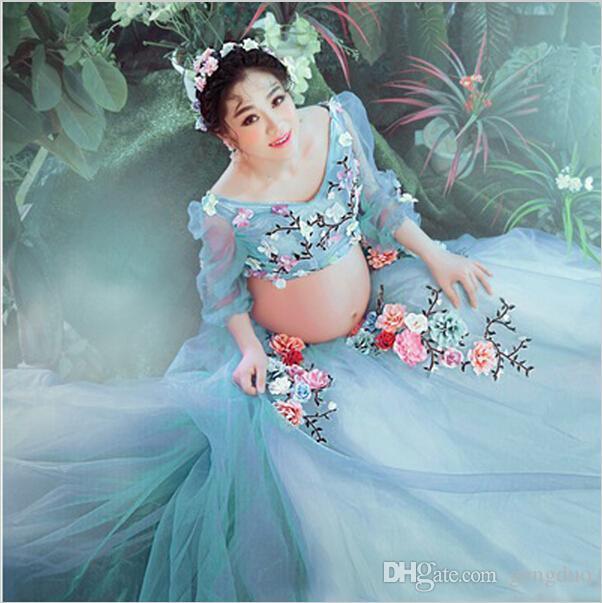 2018 Big Sale Light Blue Pregnancy Gown Lace Flower Fairy Dress ...