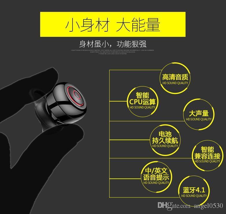 Самый маленький мини Беспроводной Bluetooth-гарнитура 4.1 наушники Беспроводные наушники в ухо звонки музыка стерео наушники Handfree auriculares