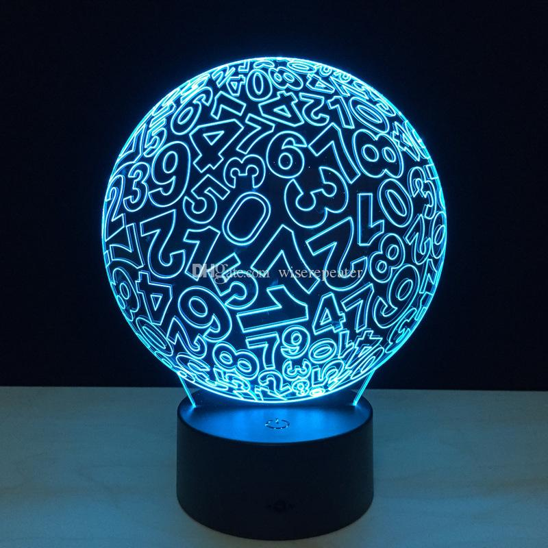 2017 Digit Ball 3D Optical Illusion Lamp Night Light DC 5V USB AA Battery Wholesale Dropshipping Retail Box