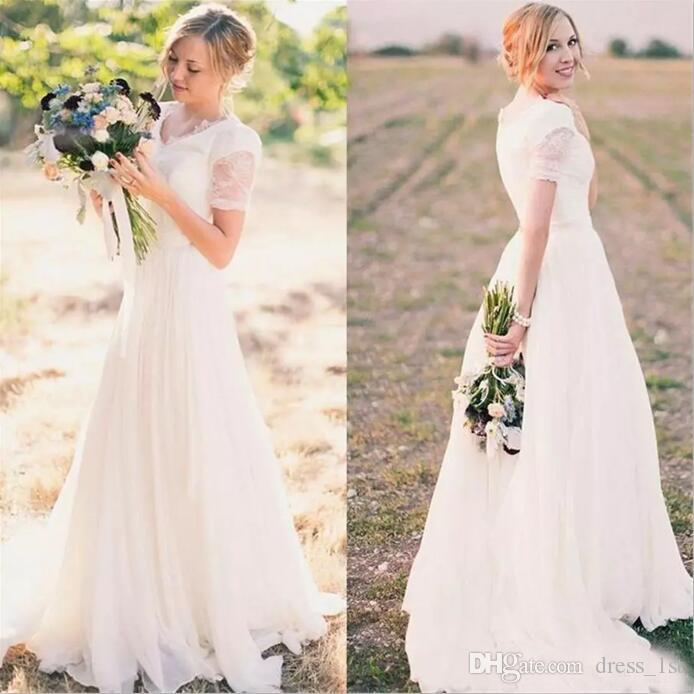 Cheap Country Wedding Dresses 2017 V Neck Lace Short Sleeve Top Chiffon Ruched Long Bridal Gowns Custom Made China EN9204