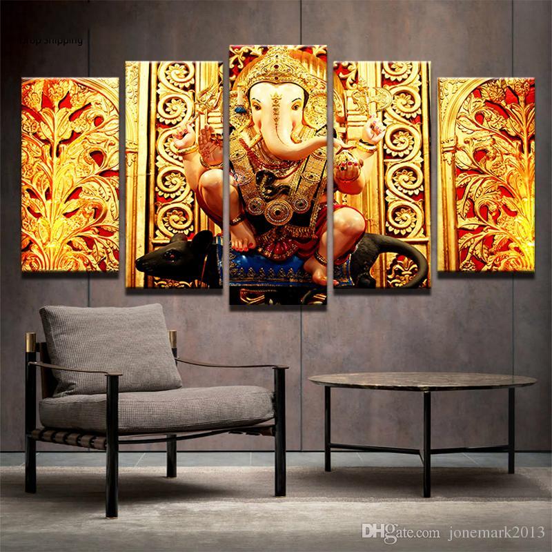 Satın Al 5 Parça Fil Kafası Tanrı Ganesha Duvar Sanat Oturma Odası