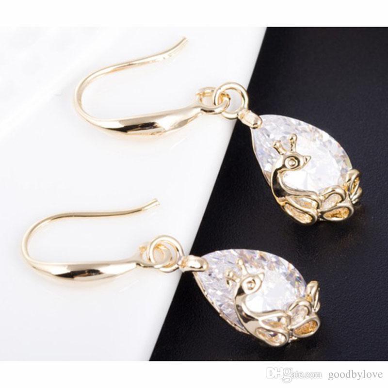 Fashion Womens Jewelry 18K Gold Plated Clear Cubic Zirconia CZ Peacock Teardrop Drop Dangle Earrings
