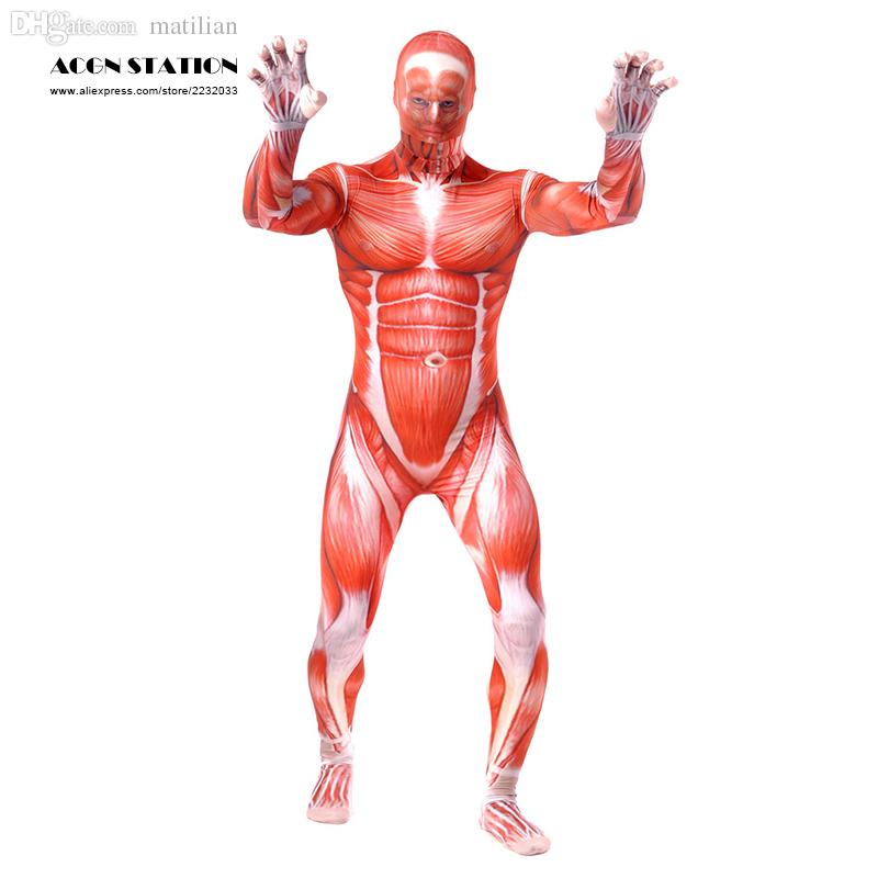 917920f0ee2 2019 Wholesale Ainclu 2016 Red Monster Lycra Spandex Zentai With White  Muscular Vein Muscle Strong Look Halloween Christmas Jumpsuit Romper From  Matilian