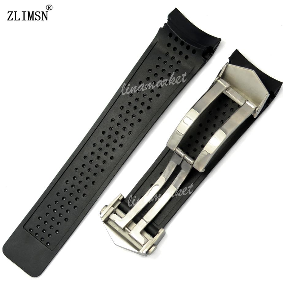 34e182c06fa Watch Band ZLIMSN Sport Watch Bands 22mm 24mm Watchbands Black Diving  Silicone Rubber Holes Watch Band Strap Black Golden Watchbands Rubber Watch  Band ...