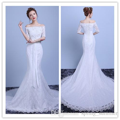 Lace Wedding Dress 2016 Bateau Neck Half Sleeve Lace Up Sweep Train ...