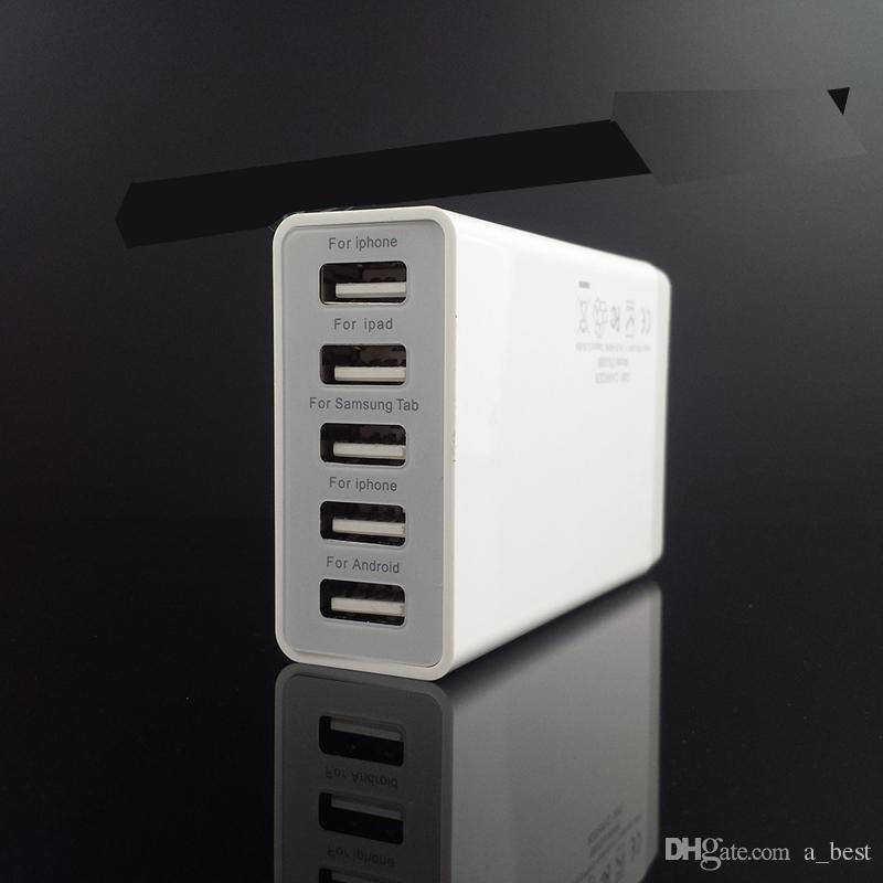 Stazione di ricarica rapida Dock 5 Porta USB Caricatore da tavolo USB 3.0 5V / 8A iPhone 7 iPad Air Smartphone Tablet