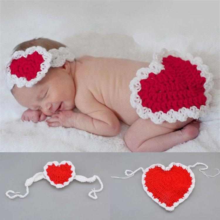 2018 newborn baby valentines day hearted costume knitted heart baby headbandbutt cover set crochet baby outfits crochet baby photo props from jf888jf - Baby Valentine