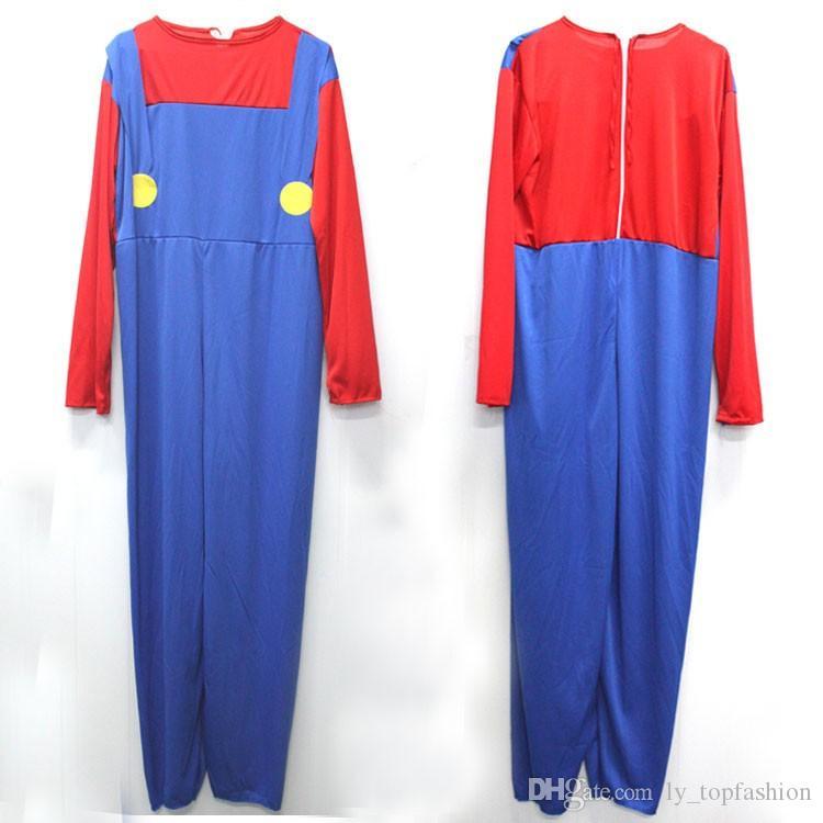 Halloween Costumes Men Super Mario Luigi Brothers Plumber Costume Jumpsuit Fancy Cosplay Clothing for Adult Men