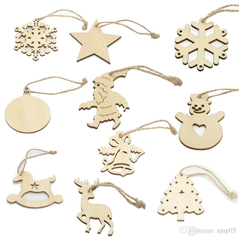 Christmas Decor Laser Cut Wooden Snowflake Cutouts Bell