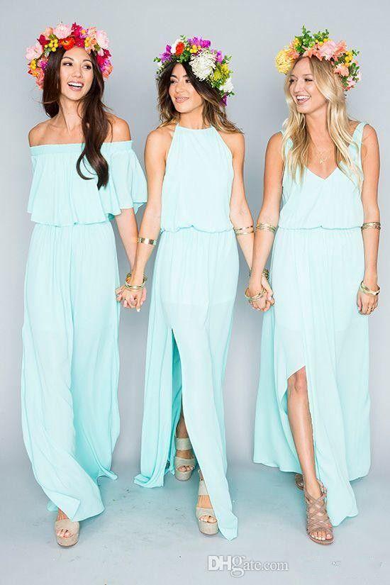 Summer Beach Bohemian Mint Green Bridesmaid Dresses 2017 Mixed Style Flow Chiffon Side Split Boho Custom Made Cheap Bridesmaid Gowns