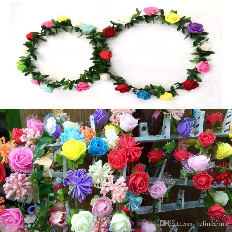 Wholesale Stock Bohemian Fashion Wedding Garlands Bridal Headband Flower Crown Hawaii Flower Tiara Crown For Bridesmaid Kids Children Cheap
