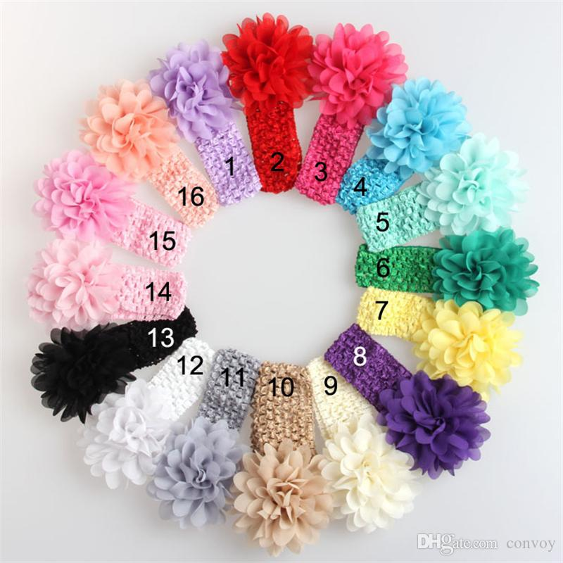 Baby Girls Headband Big Flowers Kids Children Hair Accessories 4 inch Chiffon flower Wide Elastic crochet headbands stretchy hair band KHA17