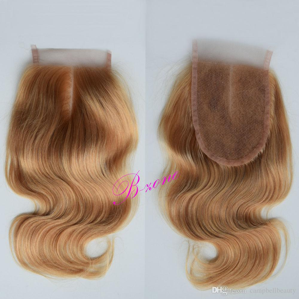 Honey Blond Brazilian Lace Top Closures #27 Body Wave 100% Human Hair Closures with Baby Hair Bleached Knots Free Middle Three Part