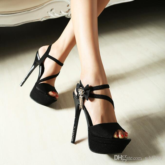 New summer sandals female high-heeled shoes with waterproof nightclub sexy fine diamond ultra high heel sandals