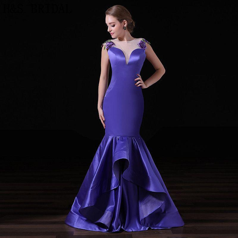 Compre Púrpura Elegante Sirena Vestidos De Noche Largo Satinado ...