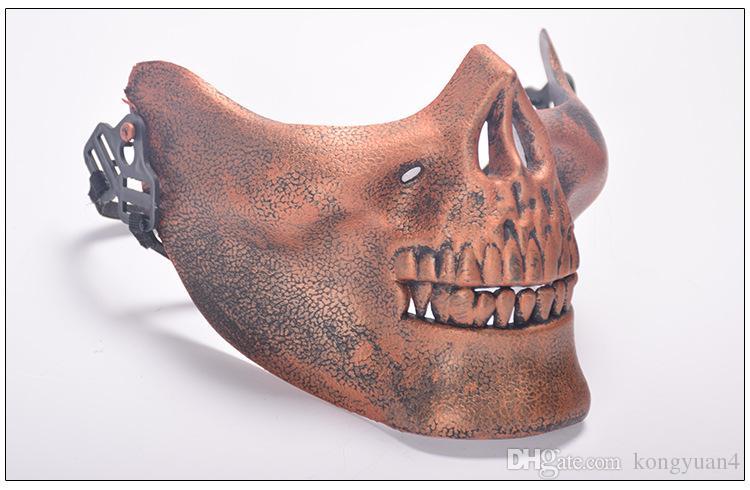 Crânios de máscara de campo de máscara de Halloween metade de uma máscara protetora de terror de produtos ao ar livre suprimentos de festa de terror