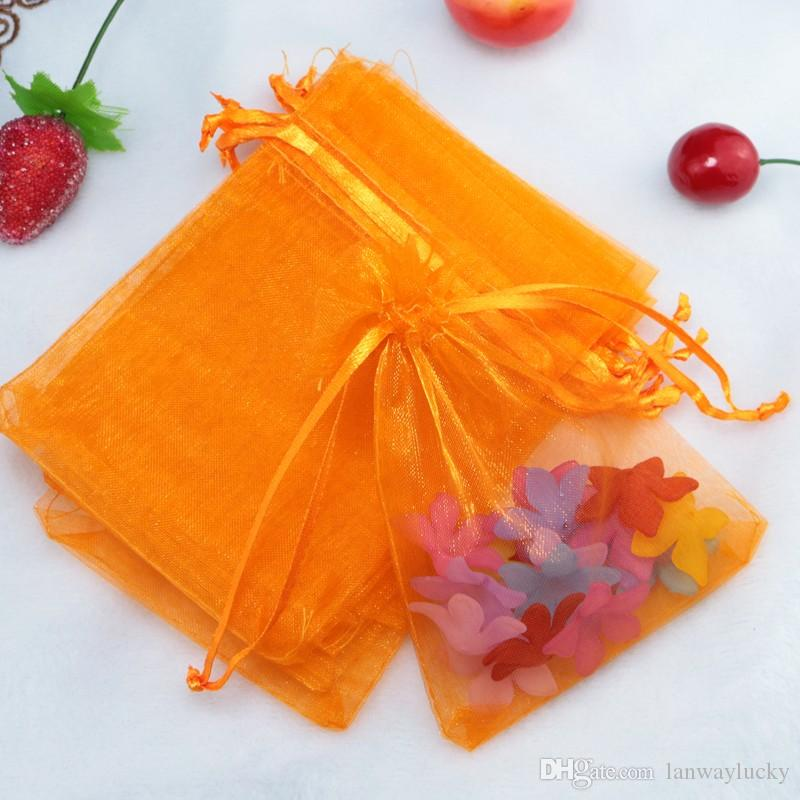 Drawable Orange Bolsas Organza Drawstring Pouches Jewelry Party Small Wedding Favor Gift Bag Packaging Gift Candy Wrap Square 5X7cm 2X2.75''