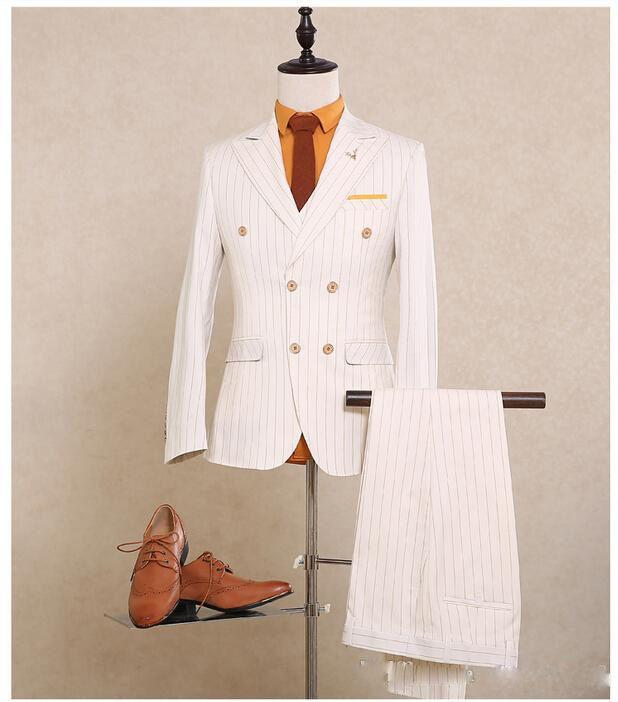 Heißer verkauf gemacht Zweireiher Hochzeit Anzüge Bräutigam Smoking Weißen Anzug Formelle Anzüge Best Man Groomsman anzüge Jacke + Pants + Westen