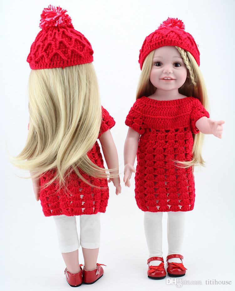 Ouro longo cabelo reto menina dolls 18 '' americano renascido completo feita artesanal bebê recém-nascido brinquedos meninas suaves presente