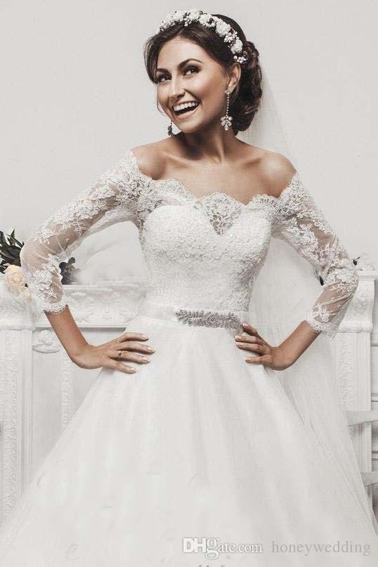 Vintage Plus Size Wedding Dresses 2016 Off Shoulder Long Sleeves Lace Appliques Elegant Bridal Gowns With Beaded Sash
